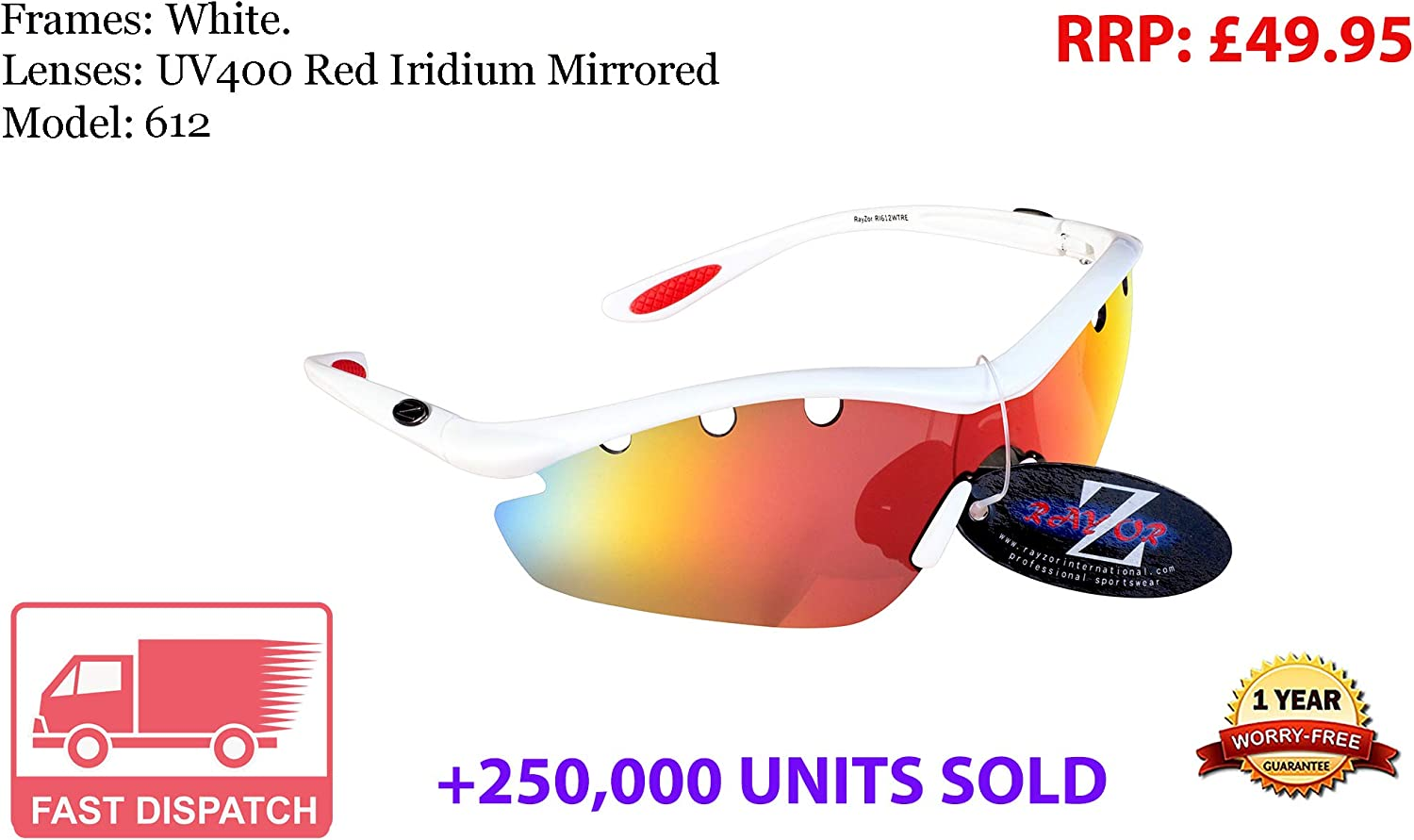 Rayzor - Gafas de sol para deportes, protección UV400, antirreflejos, lente ahumada con ventilación, color azul, White (612)