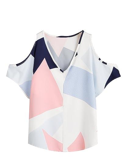 69e7d8050d6a Romwe Women s Casual Cold Shoulder V-Neck Floral Print Short Sleeve Blouse  Shirt Top White
