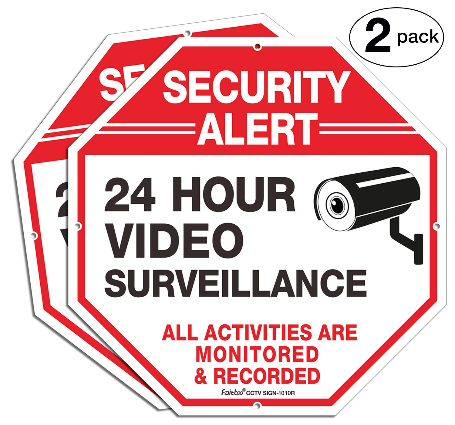 "2-Pack Video Surveillance Sign, 10"" x 10"" Rust Free .040 Aluminum Security Warning Reflective Metal Signs, Indoor Or Outdoor Use for Home Business CCTV Security Camera, UV Protected & Waterproof,Red"