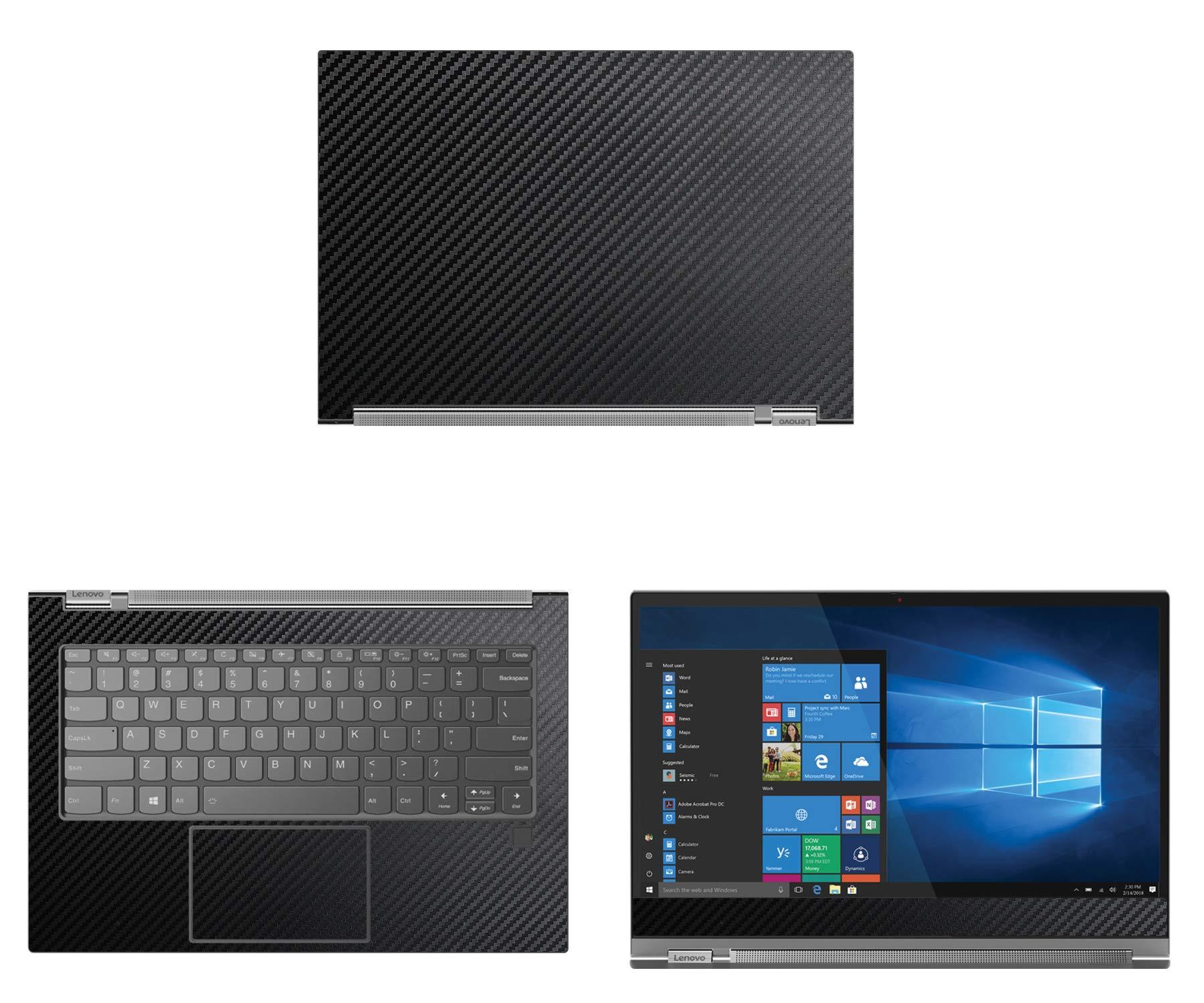 decalrus - Protective Decal for Lenovo Yoga C930 (13.9'' Screen) Laptop Black Carbon Fiber Skin Skins Decal wrap CFlenovoYoga13_C930Black