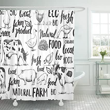Image Unavailable Not Available For Color TOMPOP Shower Curtain Sketch Farm Animals