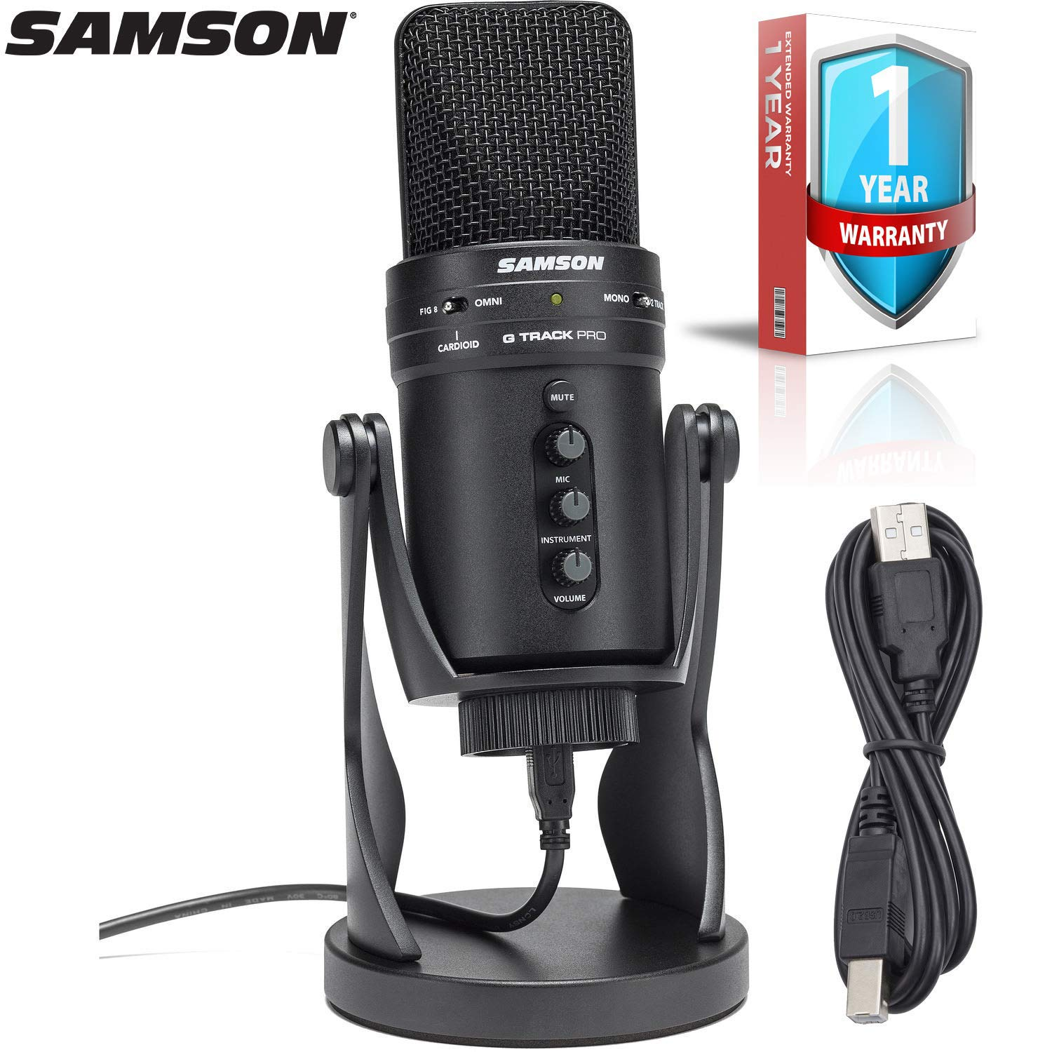 Black Samson G-Track Pro Multi-Pattern USB Condenser Studio Microphone with Built-in Audio Interface with 1-Year Extended Warranty