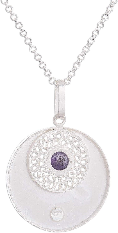 19.75 Mystic Window NOVICA Amethyst .925 Sterling Silver Pendant Necklace