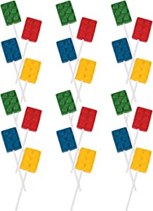 Fun Express Color Brick Lollipop Suckers   Assorted Fruit Flavors   24 Count   Great for Birthday Parties, Holiday Giveaways, Party Favors, School Treats