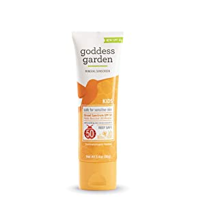 Goddess Garden - Kids SPF 50 Mineral Sunscreen Lotion - Sensitive Skin, Reef Safe, Sheer Zinc, Broad Spectrum, Water Resistant, Non-Nano, Vegan, Leaping Bunny Cruelty-Free - Travel Size 3.4 oz Tube