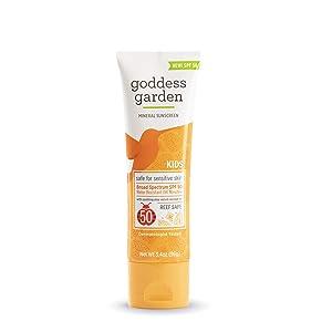 Goddess Garden - Kids SPF 50 Mineral Sunscreen Lotion - Sensitive Skin, Reef Safe, Sheer Zinc, Broad Spectrum, Water Resistant, Non-Nano, Vegan, Leaping Bunny Cruelty-Free - Travel Size 3.4 oz Tube