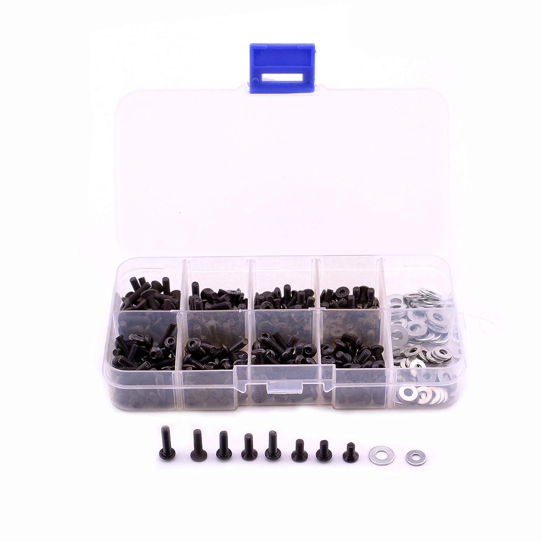 340PCS Universal M3 Screws kit Flat//Round Head Screws /& M3//M4 Flat Washer for 1//10 RC Car HSP Redcat Traxxas Tamiya SCX10 HPI