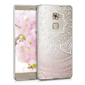 kwmobile Funda compatible con Huawei Mate S - Carcasa de TPU y diseño de sol hindú en rosa claro / blanco / transparente