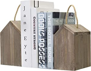 MyGift Vintage Gray on Brown Reclaimed Style Wood House Shaped Decorative Bookends with Rustic Rope Handles, Set of 2