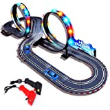 StarryBay 1/43 Scale Electric RC Slot Car Racing Track Sets Dual Speed Mode Race Track for Boys and Girls - Colorful LED Lights, 2 Slot Racing Car & 2 RC Handles Included