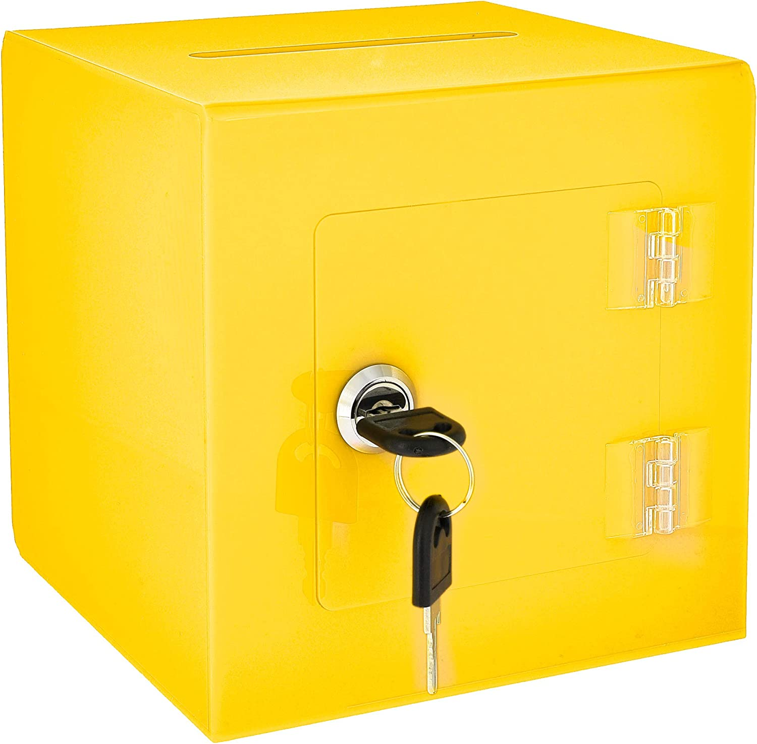 "AdirOffice 6"" x 6'' Acrylic Ballot Box Donation Box with Easy Open Rear Door - Durable Acrylic Box with Lock - Ideal for Voting, Charity & Suggestion Collection - Yellow"