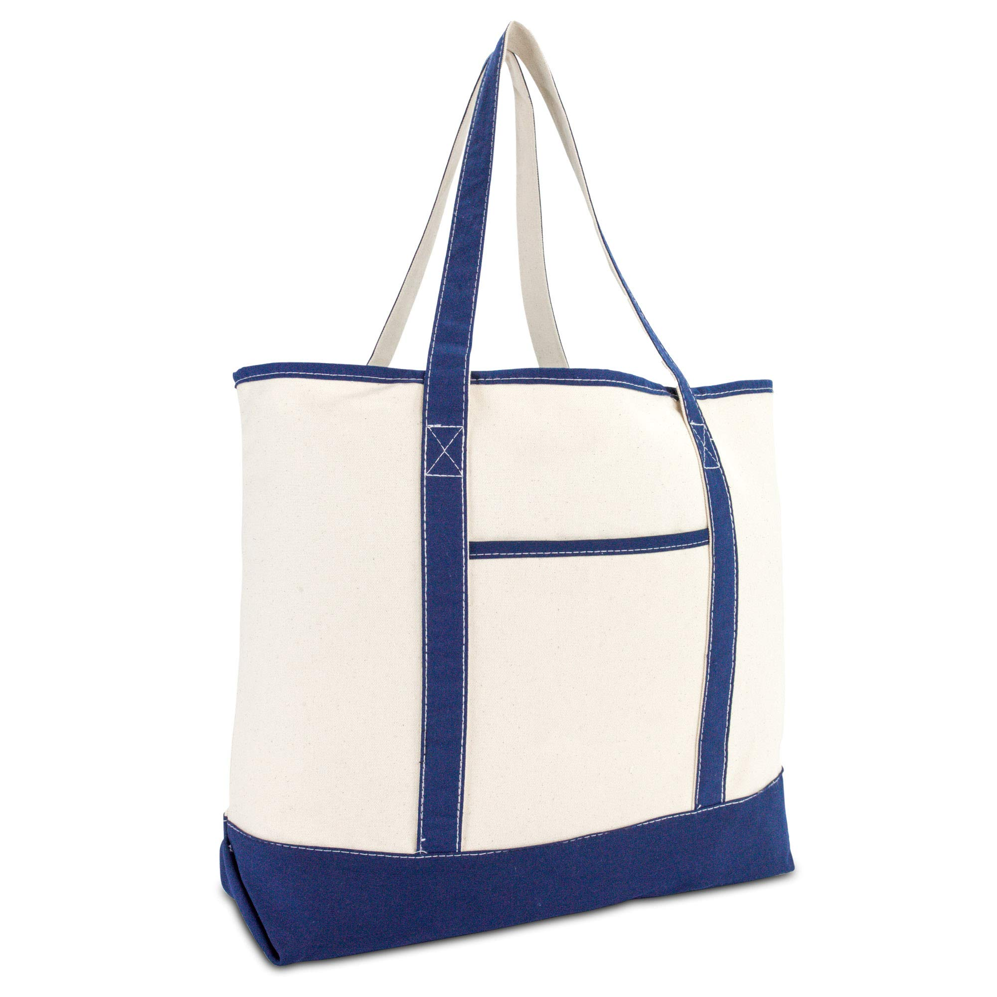 DALIX 22'' Extra Large Shopping Tote Bag w Outer Pocket in Navy Blue and Natural