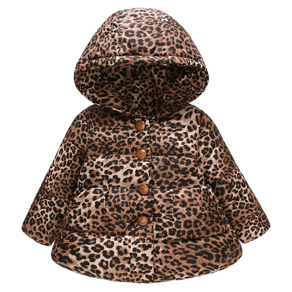 Toddler Baby Girls Boys Coat for 1-7 Years Old,Vovotrade Newborn Unisex Fashion Leopard Print Hooded Jacket Infant Kids Thick Warm Long Sleeve Pullover Padde Up Pocket Hooded Windproof Coat
