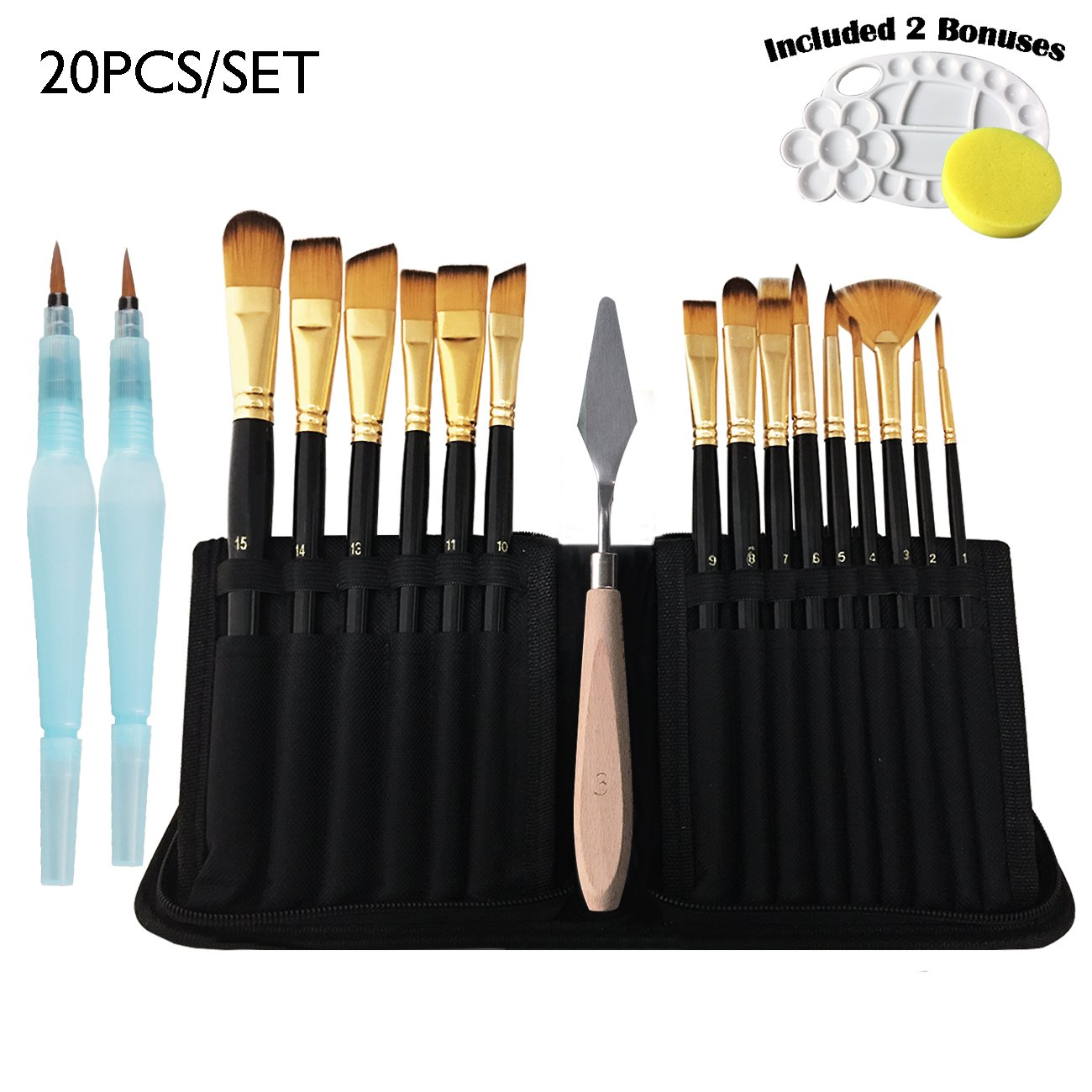 20 Pcs Paint Brush Set, Professional Artist Acrylic Paint Brushes with Water Coloring Brush Pen for Acrylic Watercolor Oil Gouache Painting by Lasten