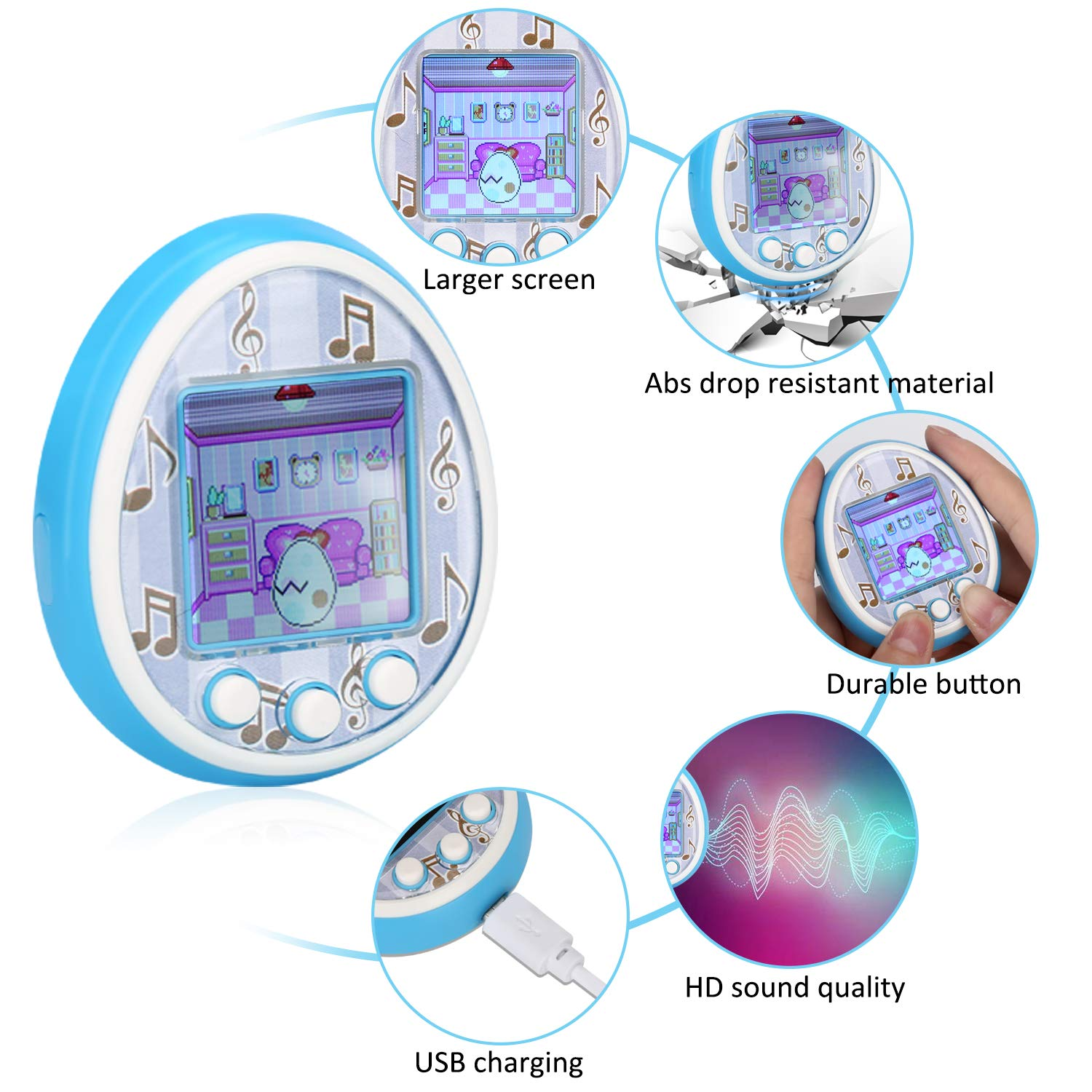 Fantasy Kids Virtual Pet Game Machine Electronic controler Toys-(2019 HD Color Screen,Wireless Interaction,USB Rechargeable,Over 30 Kinds of Gameplay,Toy Gifts for Boys Girls Toddlers(Blue) by Fantasy (Image #2)