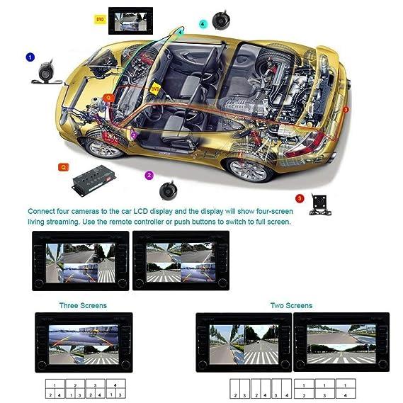 Vehículo 4 Pantalla Cuádruple Dividida Vista Derecha, Izquierda, Delantera Cámara Trasera Monitor De Automóvil Dispositivo De Conexión Para El Camión Del ...