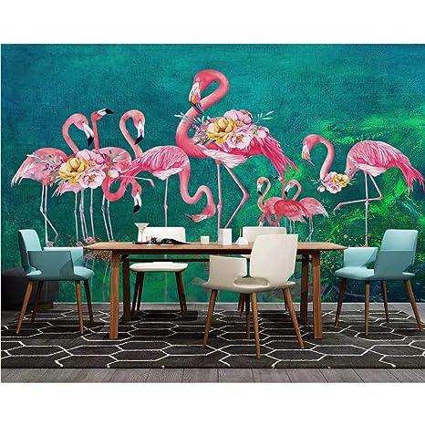 Amazon Com Pbldb Custom 3d Mural Wallpaper Oil Painting Flamingo