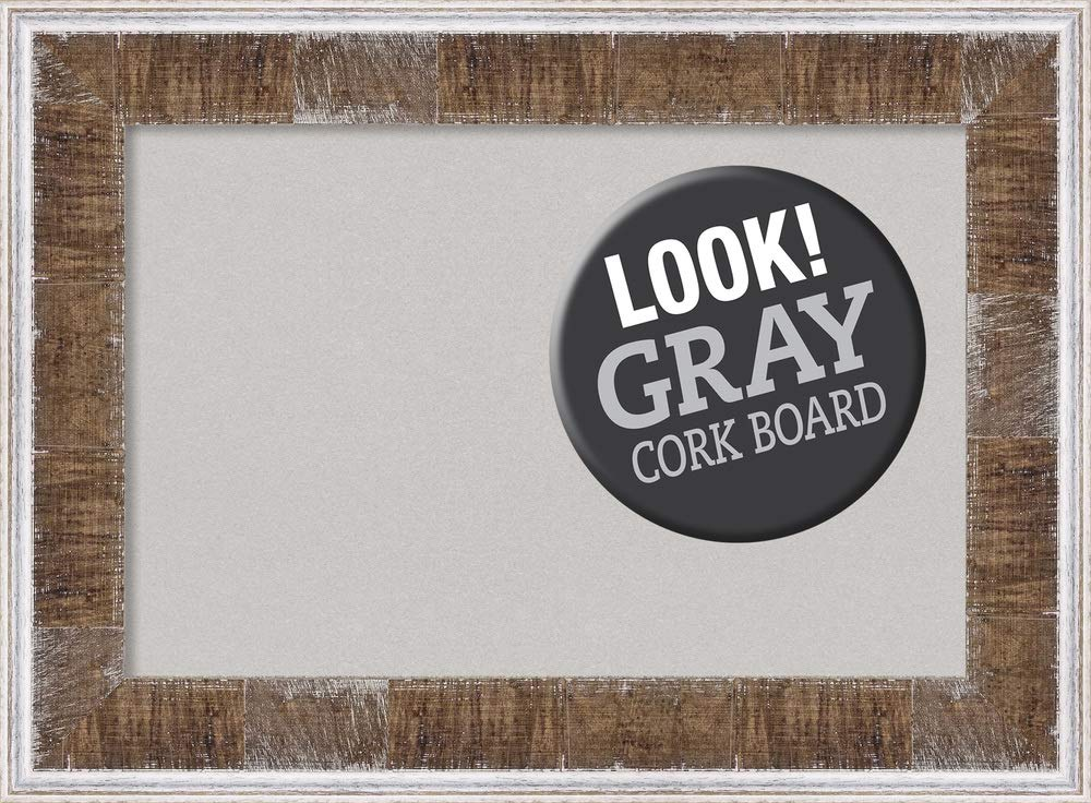 Amanti Art Grey Cork Farmhouse Brown Narrow Framed Bulletin Boards, 23 x 17,