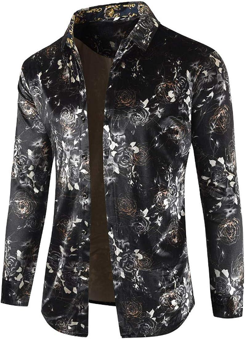 UUYUK Men Luxury Floral Long Sleeve Velvet Button Down Shirt