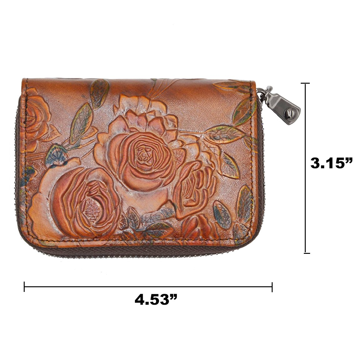RFID Blocking Credit Card Holder for Women - Leather Zipper Card Case Minimalist Accordion Wallet Hand-Painted Color by Freezx (Image #7)