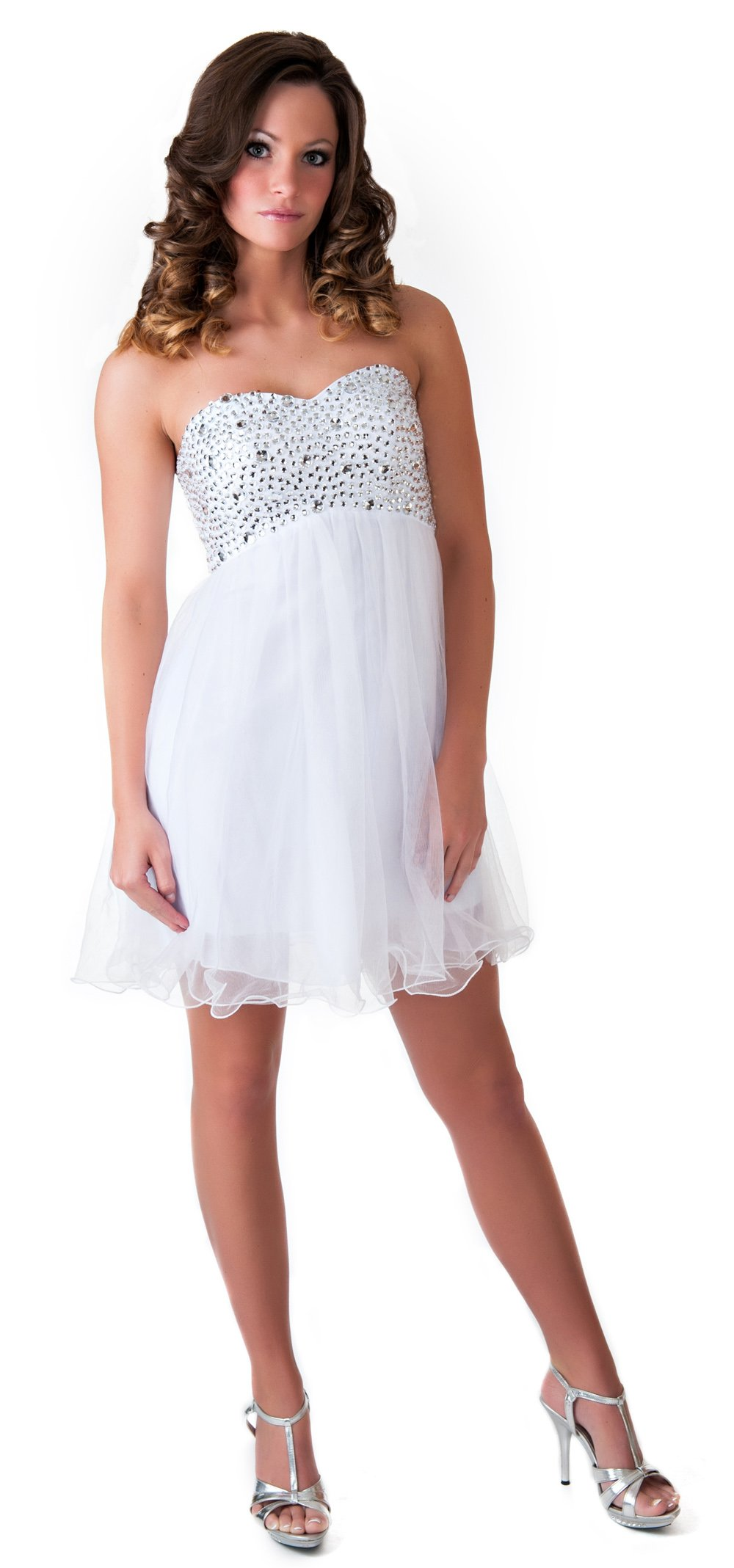 Faship Crystal Beading Lace Quinceanera Short Formal Dress