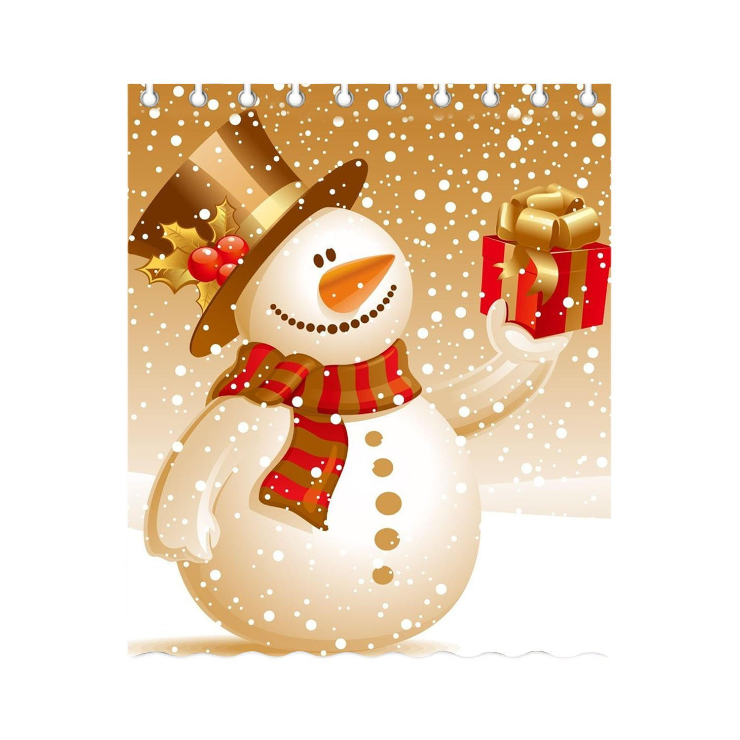 Burning Love Snowman with Gifts Shower curtain Waterproof Polyester curtains For Bathroom Home Decor Size 150x180cm.