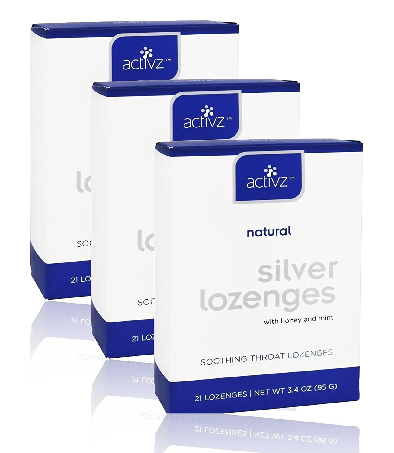 Activz, Silver Lozenges with Honey and Mint, 21 Lozenges, 3.4 oz (95 g) (Pack of 3)