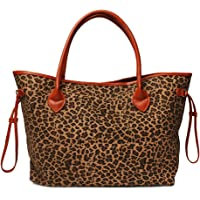 Oversized Women Canvas Casual Tote Bag White Cheetah Print Handbag with Faux Leather Handle