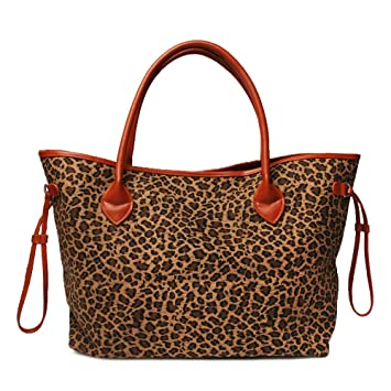 9a5257a267f Oversized Women Canvas Casual Tote Bag Leopard Cheetah Print Handbag with  Faux Leather Handle (Light
