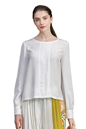 bcdac7b8aeafc Image Unavailable. Image not available for. Color  VOA White Silk Round  Neck Shirt ...