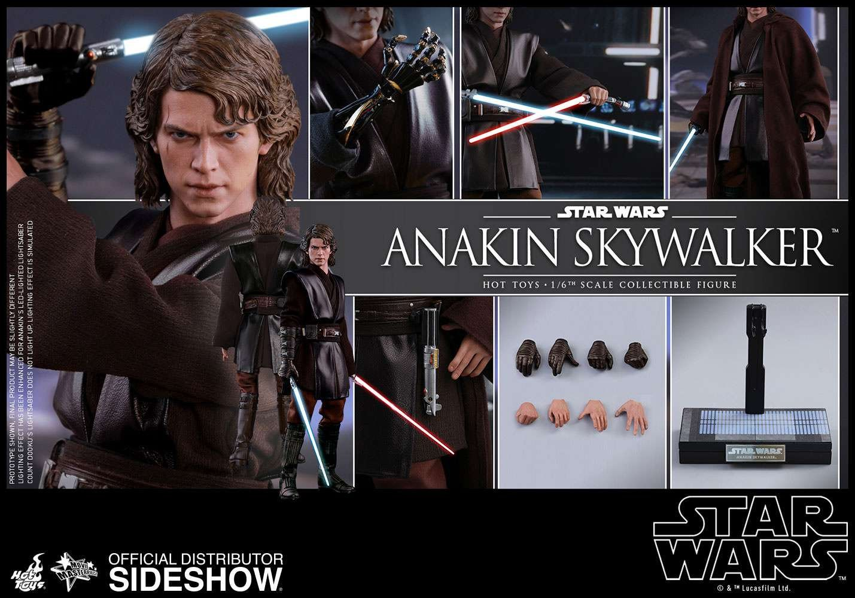 "1//6 Scale Anakin Skywalker Head Sculpt STAR WARS pour 12/"" HOT TOYS FIGURE"