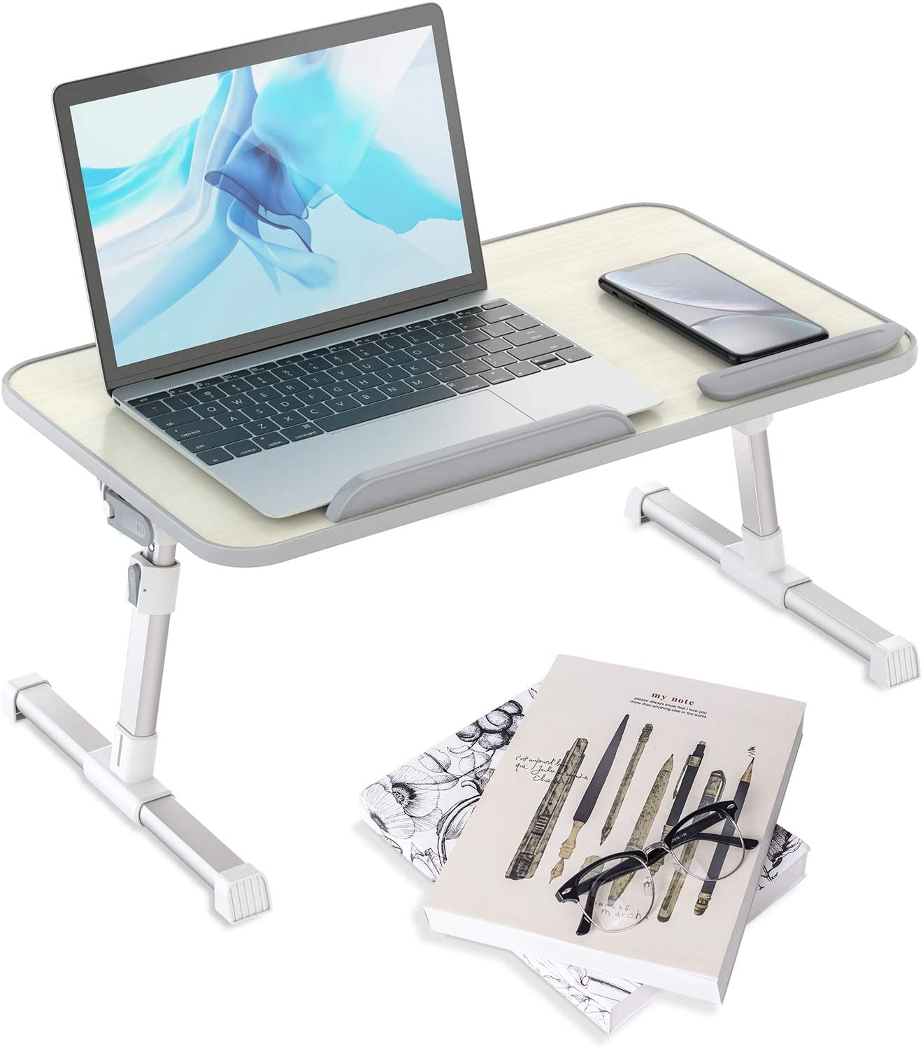 Klsniur Laptop Bed Tray Table, Adjustable Lap Desk with Foldable Legs, Portable Laptop Desk Stand for Eating, Writing, Reading and Drawing