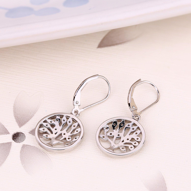 925 Sterling Silver Cubic Zirconia Family Tree of Life Drop & Dangle Leverback Earrings by JO WISDOM (Image #7)