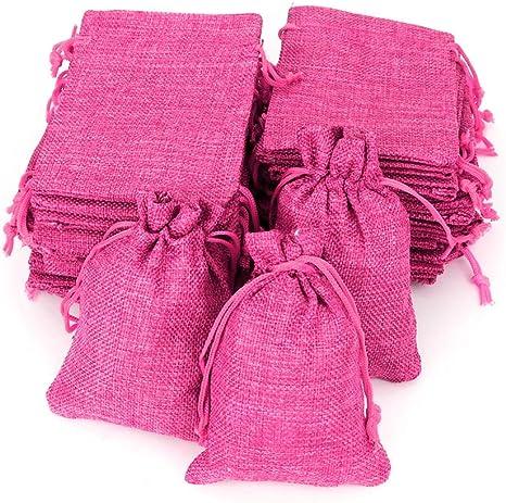 Image ofRUBY - 50 bolsitas Saco de Yute 9,5 cm x 13,5 cm, Bolsas de Regalo, bolsitas de Tela Bolsas Yute para Joyas, Bolsas de arpillera con cordón, Saco Navidad, Saco carbón, bolsitas Regalos (Fucsia)
