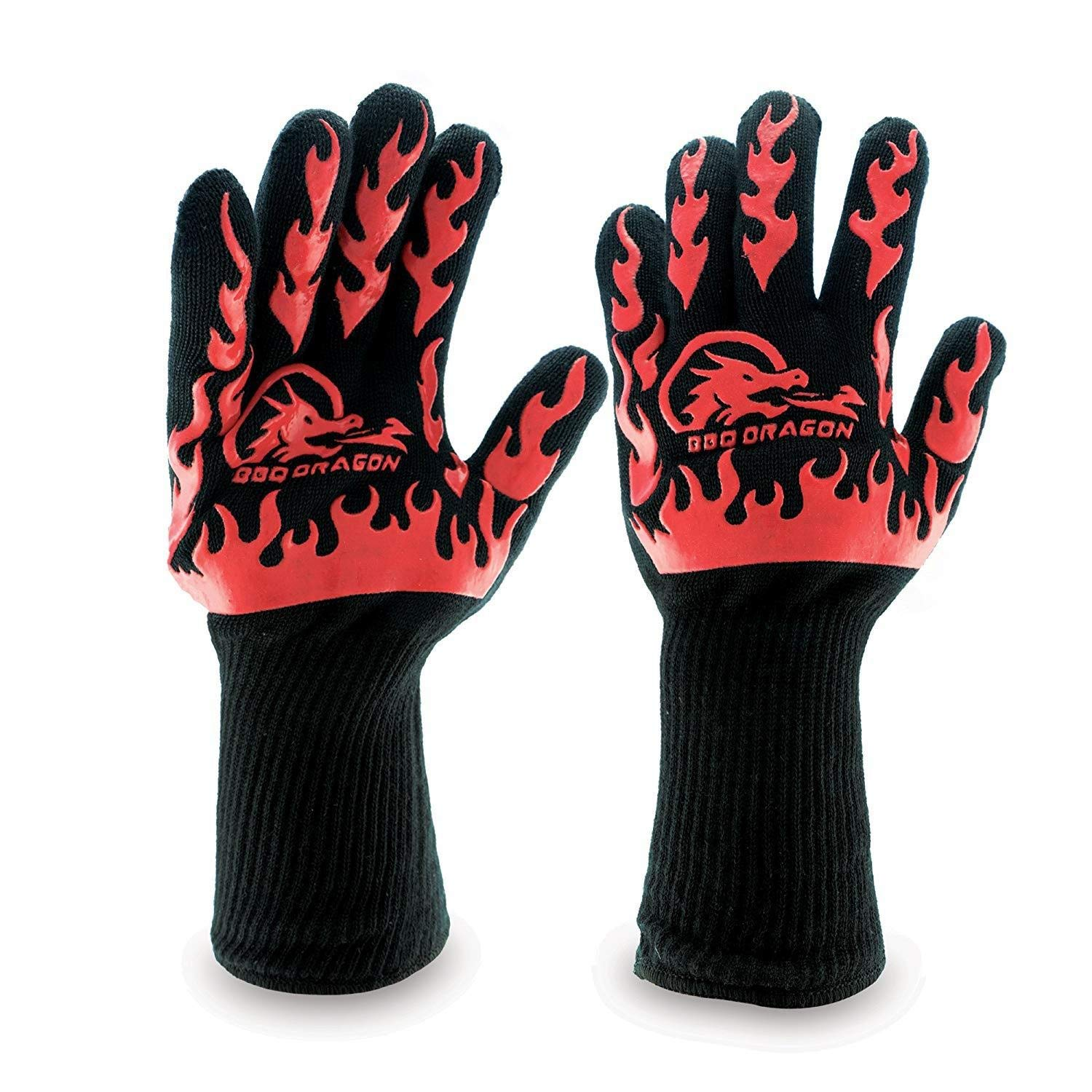 ZJYSM Comfortable Wearable Flexible Lightweight Aramid Knit High Temperature 500 Degree Microwave Oven Gloves Fireproof Hot Silicone BBQ Barbecue Insulation Hand Gloves