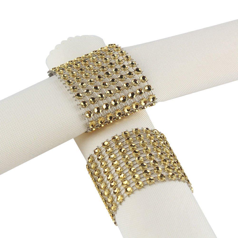 Plastic Rhinestone Napkin Rings Cum Holder for Chairs Sash Bows Banquet Wedding Birthday Party Decor (Gold, 100)