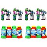 ☀ Brigamo 98B002 - 4 x Seifenblasenpistole mit Seifenblasen Nachfüllflasche, inkl. LED Licht & OHNE nervigen Sound ☀