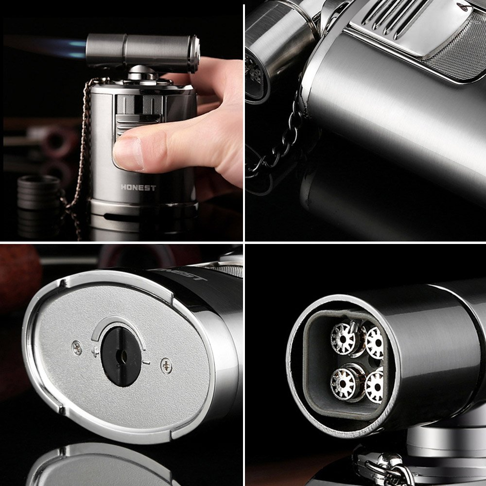 QIMEI Table Jet Torch lighter For Cigar Baking BBQ Welding Gas Refillable Gas Turbo Lighter 4 Jet Flame(Gas Not Included) (Table Jet Lighter Black) by QIMEI (Image #4)
