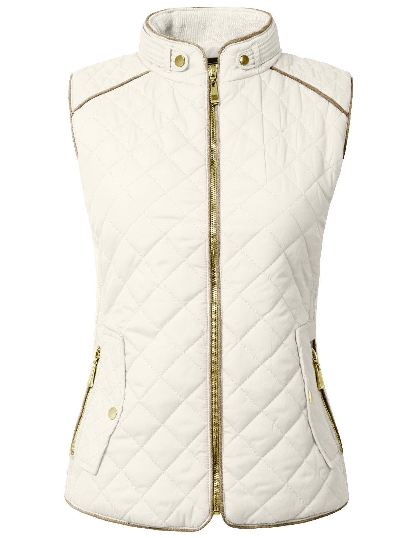 NE PEOPLE Womens Lightweight Quilted Zip Vest, Medium, NEWV40WHITE
