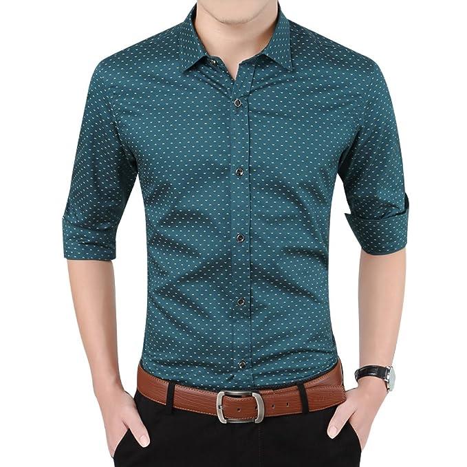 wholesale dealer f843b b4cee Zicac Camicia stile inglese da uomo maniche lunghe a pois ...