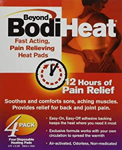 Beyond BodiHeat Disposable Heating Pads, 3.75 X 5.25 Inch, Box of 4