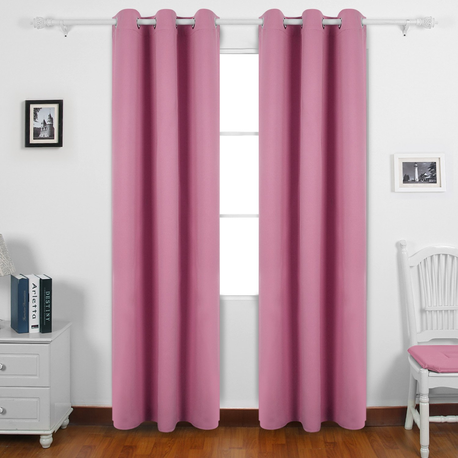 Deconovo Room Darkening Thermal Insulated Blackout Grommet Window Curtains For Bedroom Sets Pink