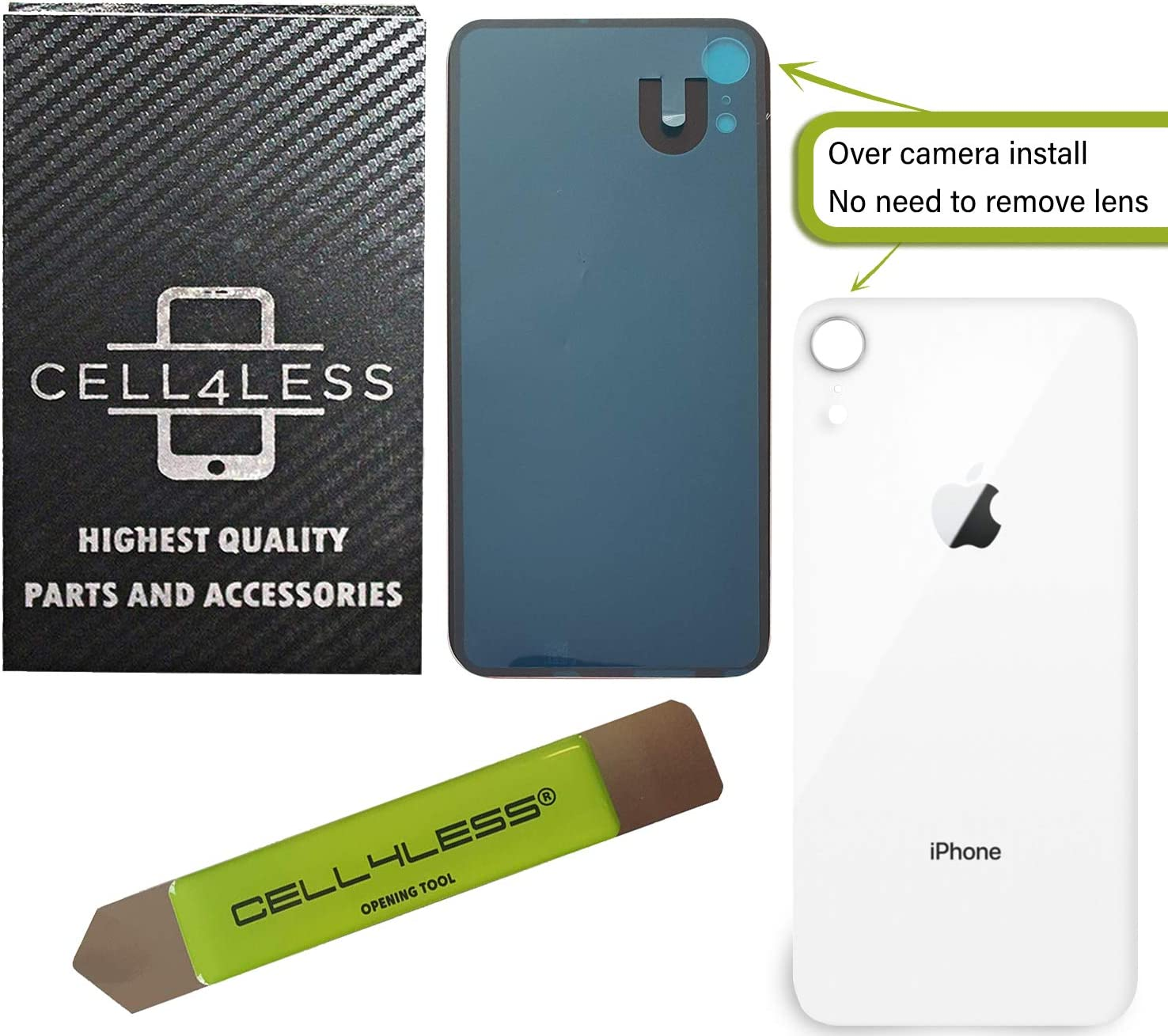 CELL4LESS Back Glass Replacement Compatible w//The iPhone XR Including Wide Camera Hole Adhesive /& Removal Tool Product RED