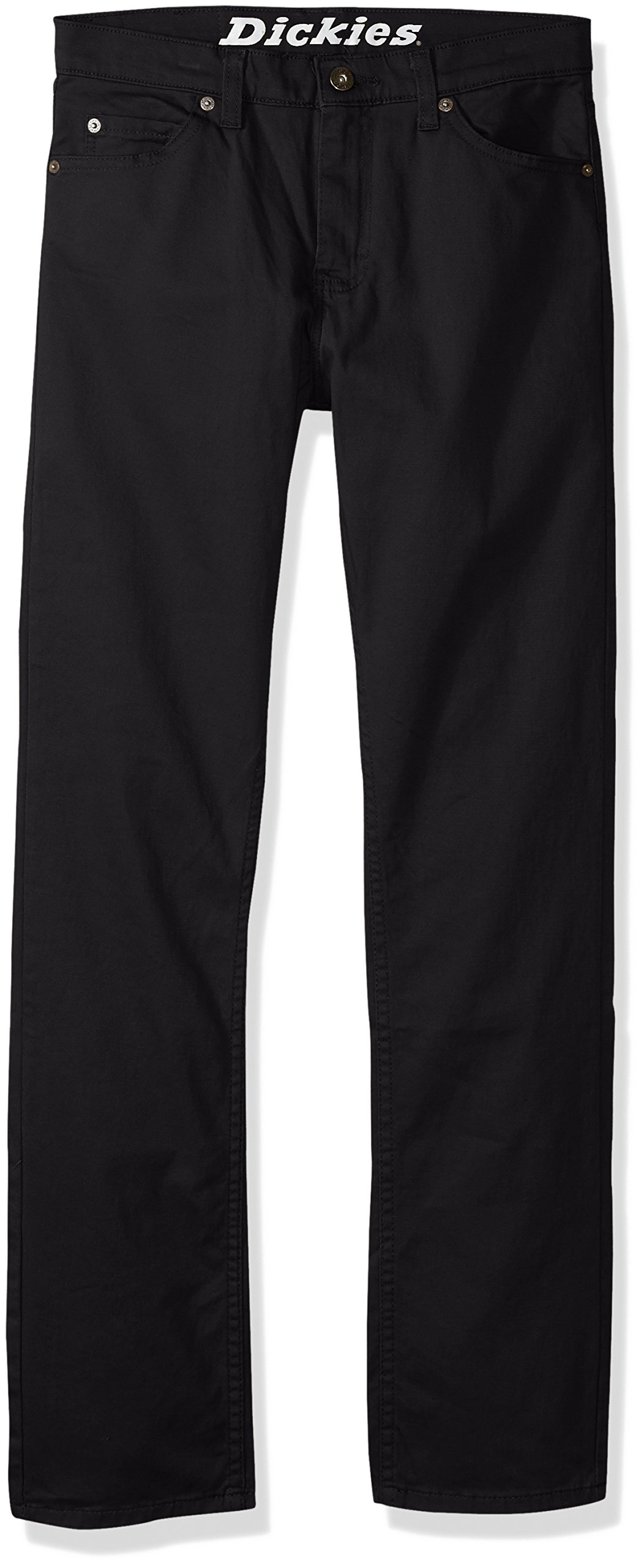 dickies Boys' Big Flex Twill Pant-Slim Taper Fit, Rinsed Black, 10 by dickies