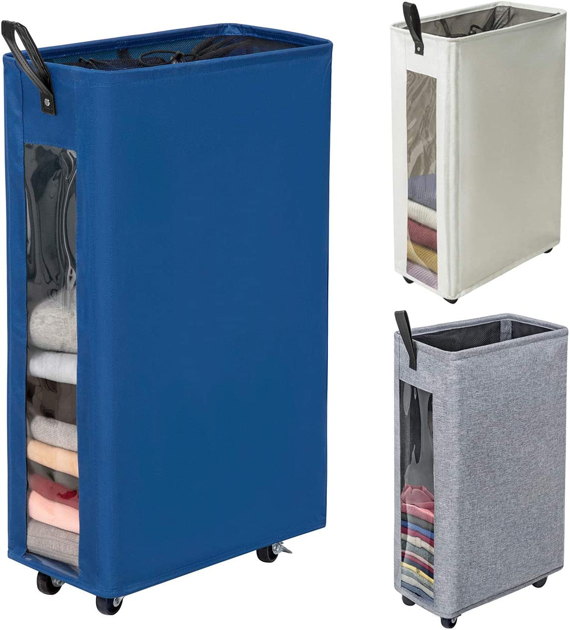 "ZERO JET LAG 27 inches Slim Laundry Hamper Large Tall Laundry Basket on Wheels Clear Window Visible Dirty Clothes Hamper Thin Clothes Storage Standable Corner Bin Handy 16""×8.6""×27"" Blue"