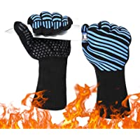 Grill Gloves BBQ Heat Resistant Anti Hot Gloves Kitchen Oven Pot Holder Silicone Non-Slip BBQ Glove with Fingers for…