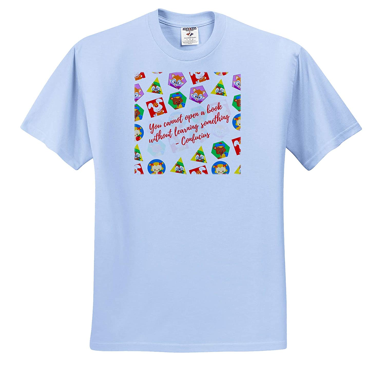 You Cannot Open a Book Without Learning Something Pets with Books T-Shirts 3dRose Alexis Design Pattern Back to School