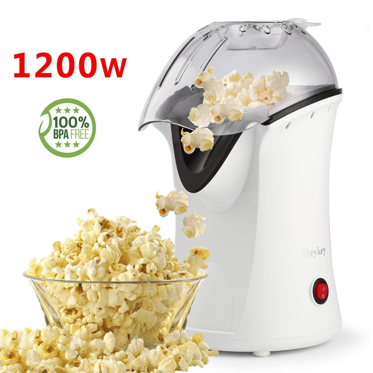 Hot Air Popcorn Popper, Popcorn Maker, 1200W Electric Popcorn Machine with Measuring Cup and Removable Lid, Healthy Popcorn Maker for Home, No Oil Needed, Great For Kids (White) Guiok