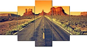 Fankiko Framed Wall Art for Bedroom Desert Highway Leading into Monument Valley,USA Landmark Paintings 5 Panel Canvas Wall Art Pictures Home Decor for Living Room Stretched Ready to Hang(60''Wx32''H)