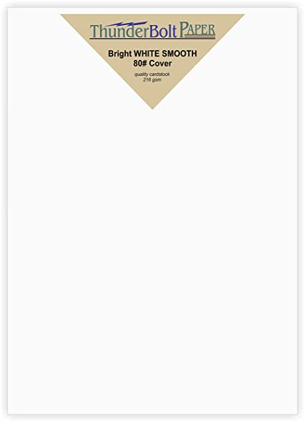 .com : 100 bright white smooth card paper sheets - 80# cover ...